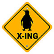 Penguin Crossing Sign Poster