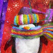 Penguin Happy Holidays Photo Art Poster