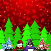 Penguins Carolers Singing With Red Winter Scene Illustration Poster
