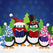 Penguins Carolers With Night Winter Scene Poster