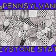 Pennsylvania Map Blue Poster
