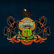 Pennsylvania State Flag Art On Worn Canvas Poster by Design Turnpike