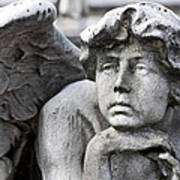 Pensive Angel Detail Monumental Cemetery Milan Italy Poster