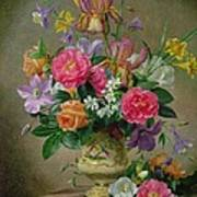 Peonies And Irises In A Ceramic Vase Poster by Albert Williams