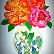 Peonys In Vase Poster