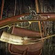 Percussion Cap And Ball Rifle With Powder Horn And Possibles Bag Poster