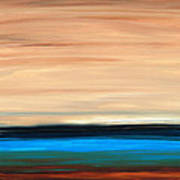 Perfect Calm - Abstract Earth Tone Landscape Blue Poster by Sharon Cummings