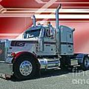 Peterbilt With Burgundy Abstract Poster