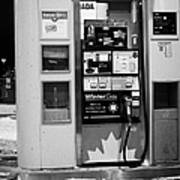 petro canada winter gas fuel pump at service station Regina Saskatchewan Canada Poster
