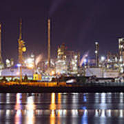 Petrochemical Plant In Night  Poster