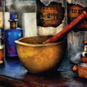 Pharmacist - Mortar And Pestle Poster by Mike Savad