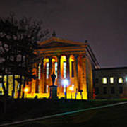 Philadelphia Art Museum  At Night From The Rear Poster by Bill Cannon