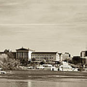 Philadelphia Art Museum With Cityscape In Sepia Poster