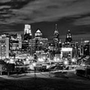 Philadelphia Black And White Cityscape Poster