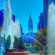 Philadelphia City Hall And Swan Fountain 2  Poster
