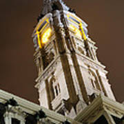 Philadelphia City Hall Clock Tower At Night Poster by Gary Whitton