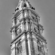 Philadelphia City Hall Tower Bw Poster