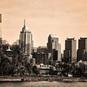 Philadelphia Cityscape In Sepia Poster