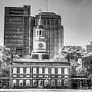 Philadelphia Independence Hall 6 Bw Poster