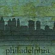 Philadelphia Pennsylvania Skyline Art On Distressed Wood Boards Poster