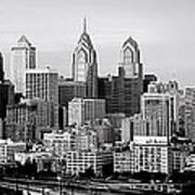 Philadelphia Skyline Black And White Bw Pano Poster