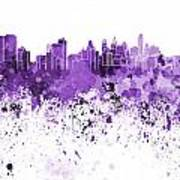 Philadelphia Skyline In Purple Watercolor On White Background Poster