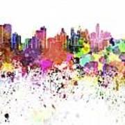 Philadelphia Skyline In Watercolor On White Background Poster