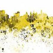 Philadelphia Skyline In Yellow Watercolor On White Background Poster