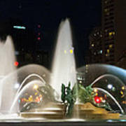 Philadelphia - Swann Fountain - Night Poster by Bill Cannon