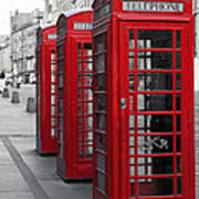 Phone Boxes On The Royal Mile Poster