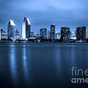 Photo Of San Diego At Night Skyline Buildings Poster
