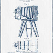 Photographic Camera Patent Drawing From 1885- Blue Ink Poster