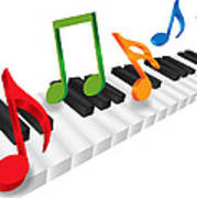 Piano Keyboard And 3d Music Notes Illustration Poster