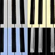 Piano Keys In Quad Colors Poster
