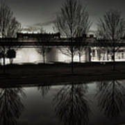 Piano Pavilion Bw Reflections Poster