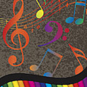 Piano Wavy Border With Colorful Keys And Music Note Poster