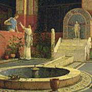 Picking Flowers From The Courtyard Poster