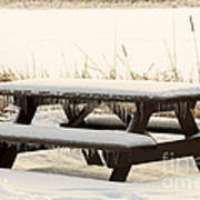 Picnic Table In Winter Poster