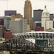 Picture Of Cincinnati Skyline Office Buildings  Poster by Paul Velgos
