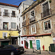 Picturesque Houses In Lisbon Poster