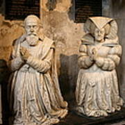 Pierre Jeannin And His Wife Sculpture Cathedral Autun Poster