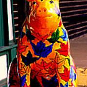 Pig Art Statuary Leaves Poster