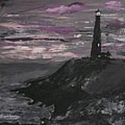 Pigeon Lighthouse Impasto Sunset Monochromatic Poster