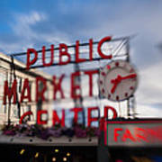 Pike Place Public Market Neon Sign Poster