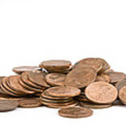 Pile Of American Pennies On White Background Poster