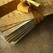 Pile Of Letters With Golden Ribbon Poster