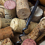 Pile Of Wine Corks With Corkscrew Poster