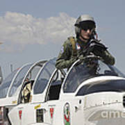 Pilot Standing In  A Socata Tb-30 Poster