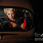 Pin Up Girl In A Classic Rat Rod Car Poster