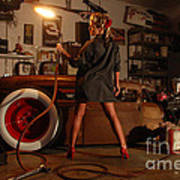 Pin Up Girl With Blow Torch Poster